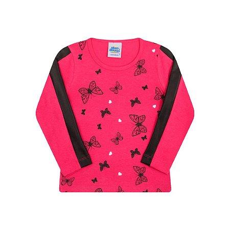 Blusa estampada cor pink com detalhes cirrê na manga