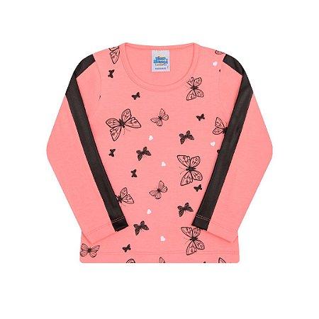 Blusa estampada cor salmão com detalhes cirrê na manga