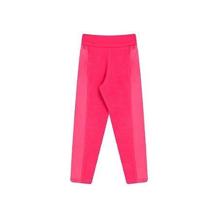 Calça legging pink com detalhe em cirrê e elástico no cós