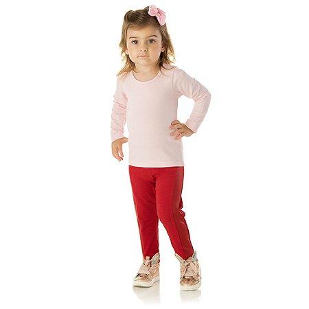 Calça legging escarlate com detalhe em cirrê e elástico no cós