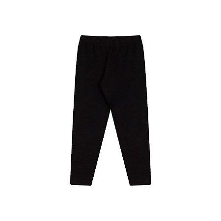 Calça legging preto em cotton com elástico no cós