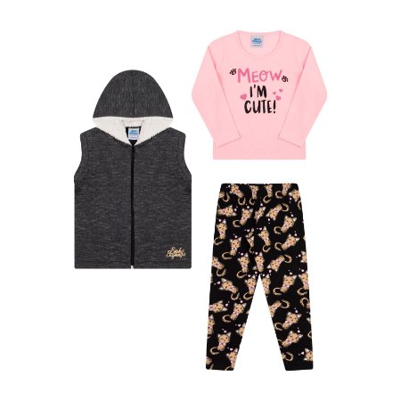Conjunto com três peças em moletom moline e cotton rosa bebê
