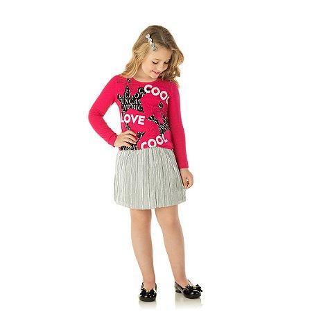 Blusa em cotton com detalhes em glitter cor pink