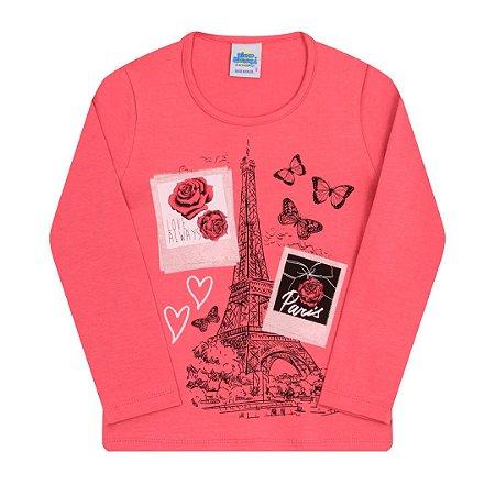 Blusa em cotton com detalhes em glitter na estampa cor amora