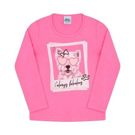 Blusa em cotton com detalhes em glitter cor chiclete