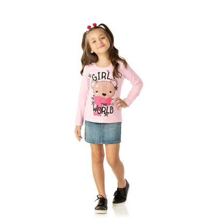 Blusa com estampa lisa e detalhes em strass cor rosa bebê
