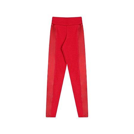 Calça legging em cotton com detalhes em cirrê cor escarlate vermelho