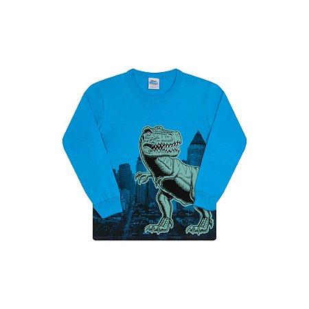 Camisa em meia malha cor azul ceu com detalhes em puff