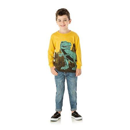 Camisa em meia malha cor amarelo pastel com detalhes em puff