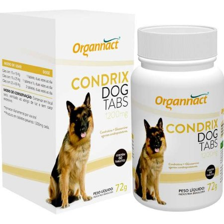 Suplemento Organnact Condrix Dog Tabs com 60 Tabletes 1200 mg - 72 g