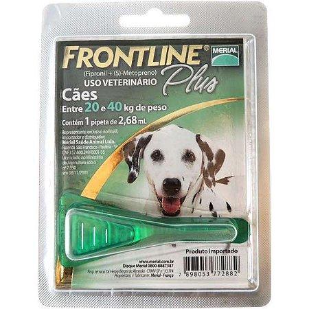 Antipulgas E Carrapatos Frontline Plus  Cães - 20 A 40kg