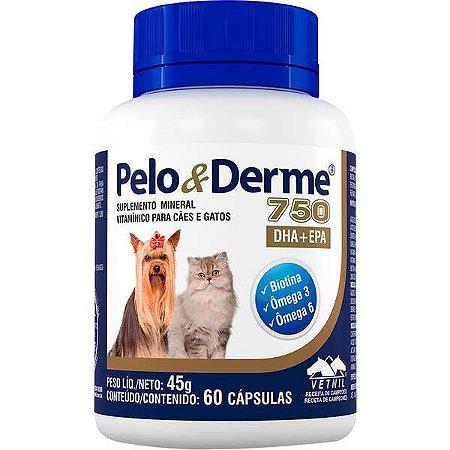 Suplemento Vetnil Pelo & Derme DHA + EPA 750 - 60 Cápsulas