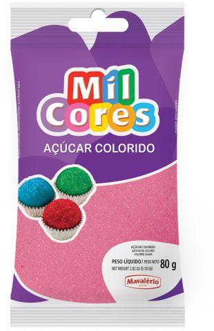 AÇÚCAR COLORIDO ROSA MIL CORES 80G MAVALERIO