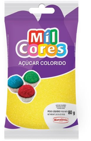 AÇÚCAR COLORIDO AMARELO MIL CORES 80G MAVALERIO