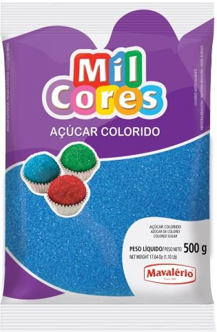 AÇÚCAR COLORIDO AZUL MIL CORES 500G MAVALERIO