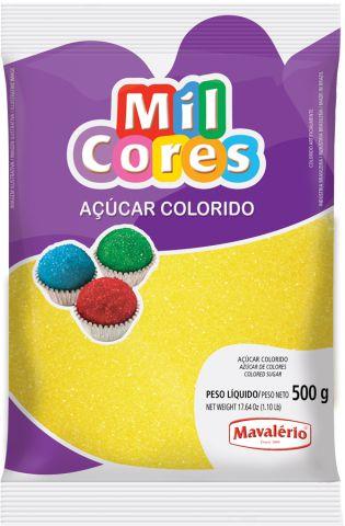 AÇÚCAR COLORIDO AMARELO MIL CORES 500G MAVALERIO