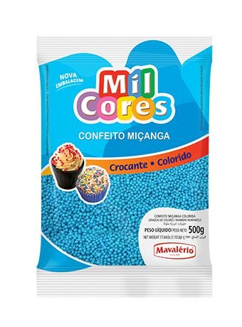 CONFEITO MIÇANGA AZUL Nº 0 MIL CORES 500G MAVALERIO