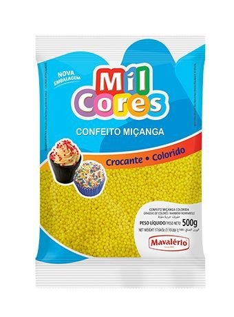 CONFEITO MIÇANGA AMARELO Nº 0 MIL CORES 500G MAVALERIO
