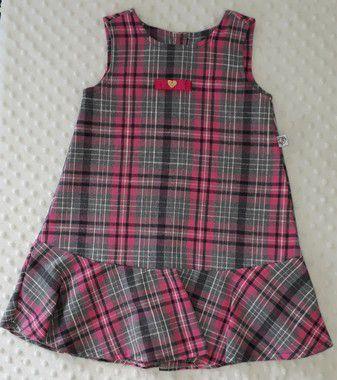 Vestido Infantil Lara Xadrez Pink Pump
