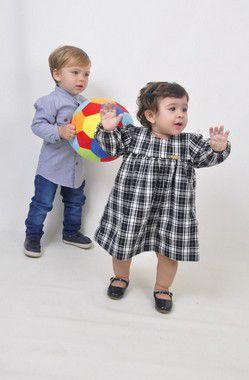 Vestido Infantil Marina Xadrez Preto e Branco Pump