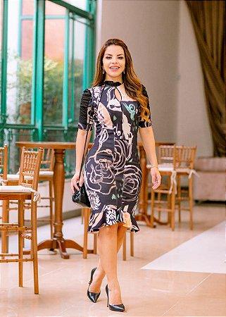 Vestido Estampado em Malha Montaria - Luciana Pais