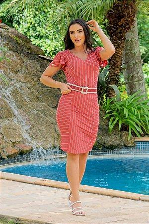 Vestido em crepe Risca de Giz - Luciana Pais