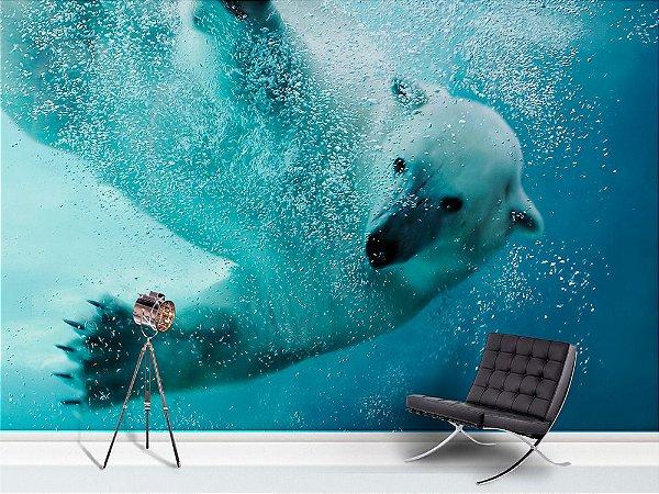 Painel Parede Fotográfico Mergulho Urso Polar
