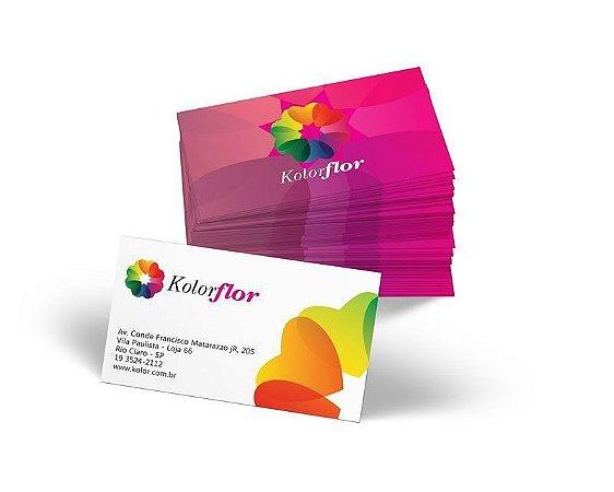 Cartão de Visita 9x5cm em Papel Couche 300gr com Verniz Total na frente