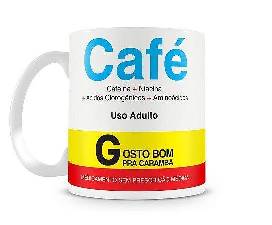 Caneca Café Remédio - Porcelana Branca