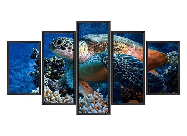 Quadro Mosaico Tartaruga em 5 partes