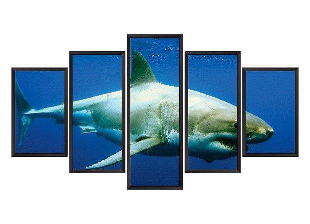 Quadro Mosaico Tubarão em 5 partes