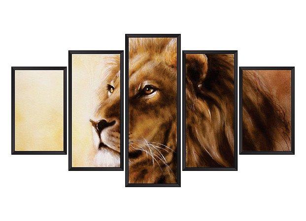 Quadro Mosaico Leão em 5 partes