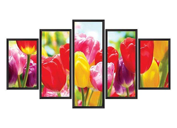 Quadro Mosaico flores em 5 partes