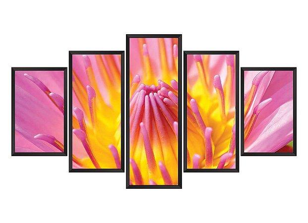 Quadro Mosaico flores 3 em 5 partes