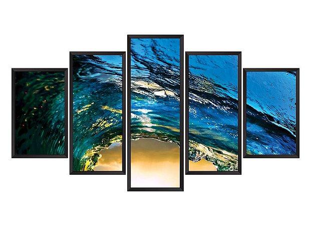 Quadro Mosaico ondas  em 5 partes