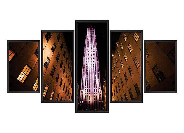 Quadro Mosaico Rockefeller Centers em 5 partes