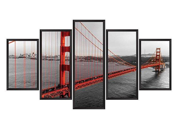 Quadro Mosaico Golden Gate em 5 partes