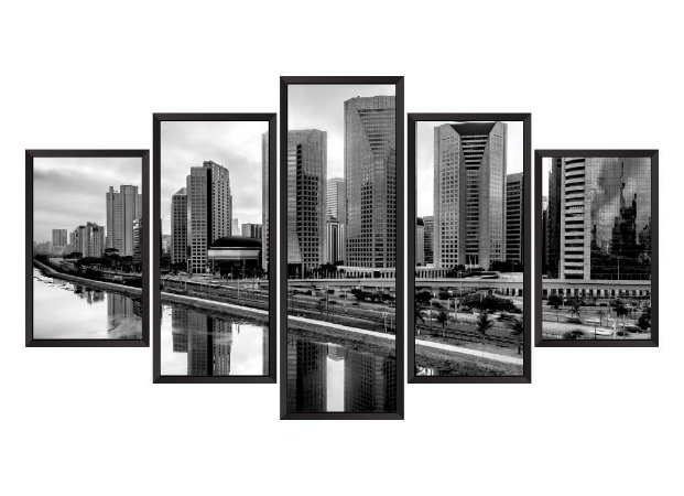 Quadro Mosaico São Paulo em 5 partes