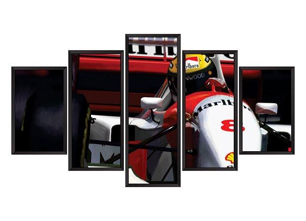 Quadro Mosaico Ayrton Senna em 5 partes