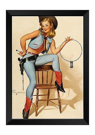 Quadro - Vintage Pin-up Cowboy