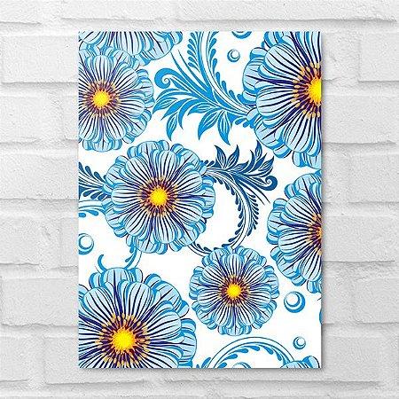 Placa Decorativa - Floral Margaridas Azuis