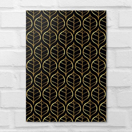 Placa Decorativa - Floral Golden Leaves