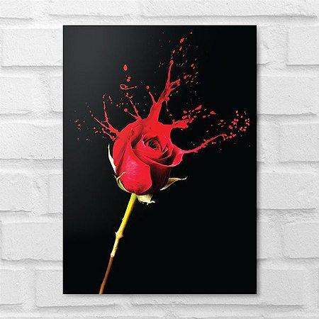 Placa Decorativa - Floral Splash Rosa