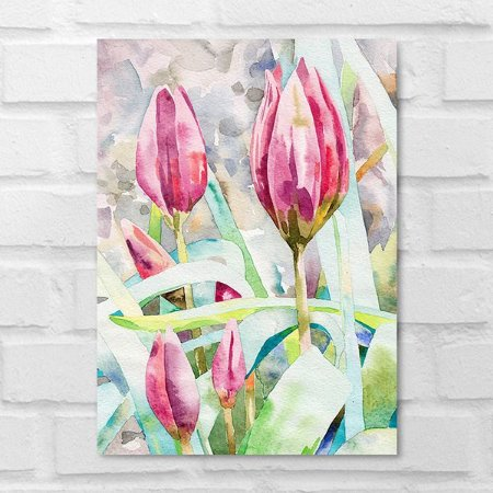 Placa Decorativa - Floral Tulipas Aquarela
