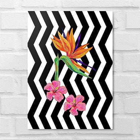 Placa Decorativa - Floral Bird of Paradise