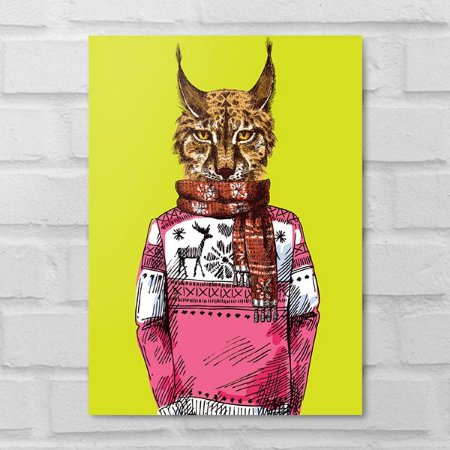 Placa Decorativa - Gato Hipster