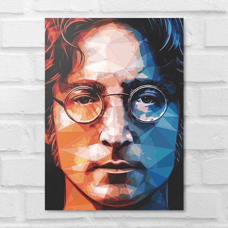 Placa Decorativa - John Lennon Beatles Poligonal
