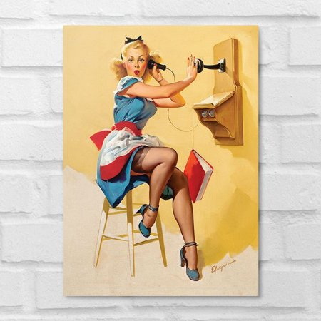 Placa Decorativa - Vintage Pin-up Telefonema