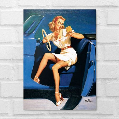 Placa Decorativa - Vintage Pin-up Driver
