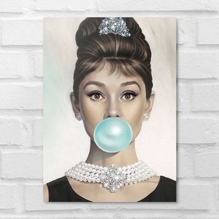 Placa Decorativa - Audrey Hepburn Chiclete